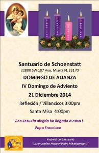 Invitacion Domingo de Alianza y IV Domingo de Adviento