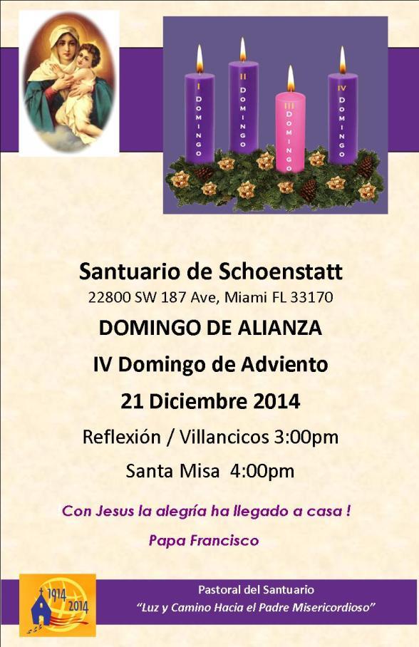 Invitacion Domingo de Alianza y IV Domingo de Adviento