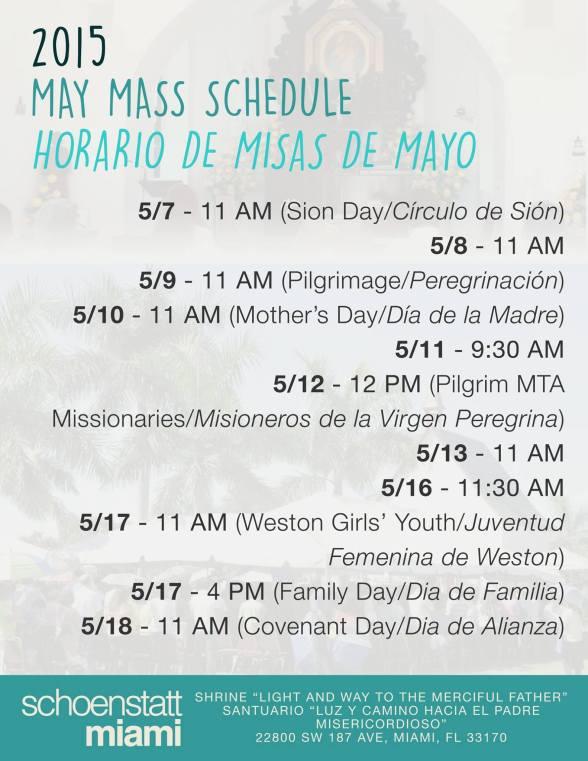 Horario Misas Mayo 2015