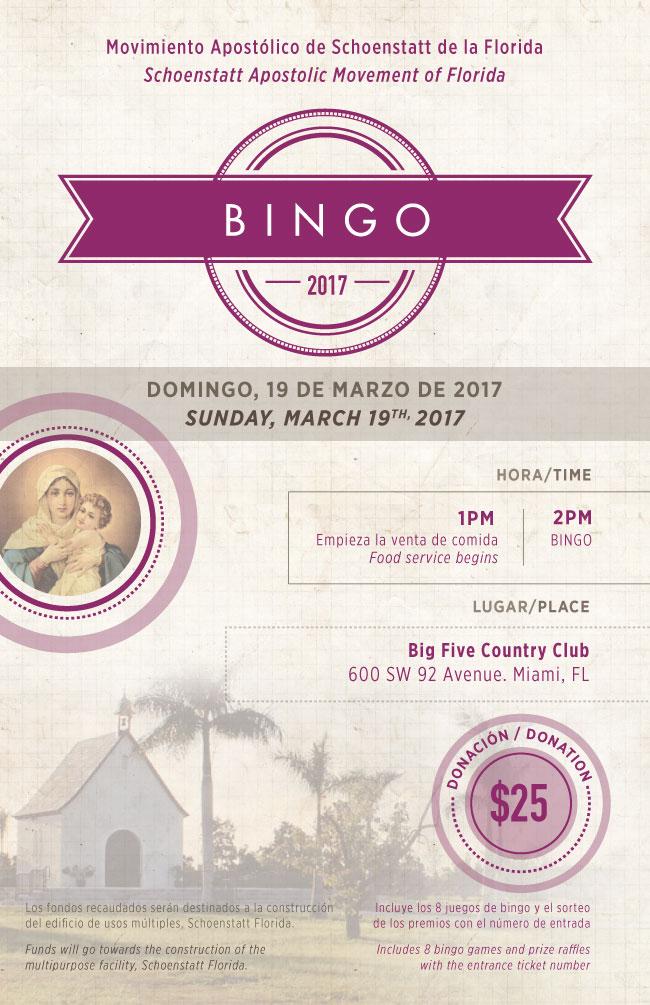 Invitación al Bingo Schoenstatt 2017