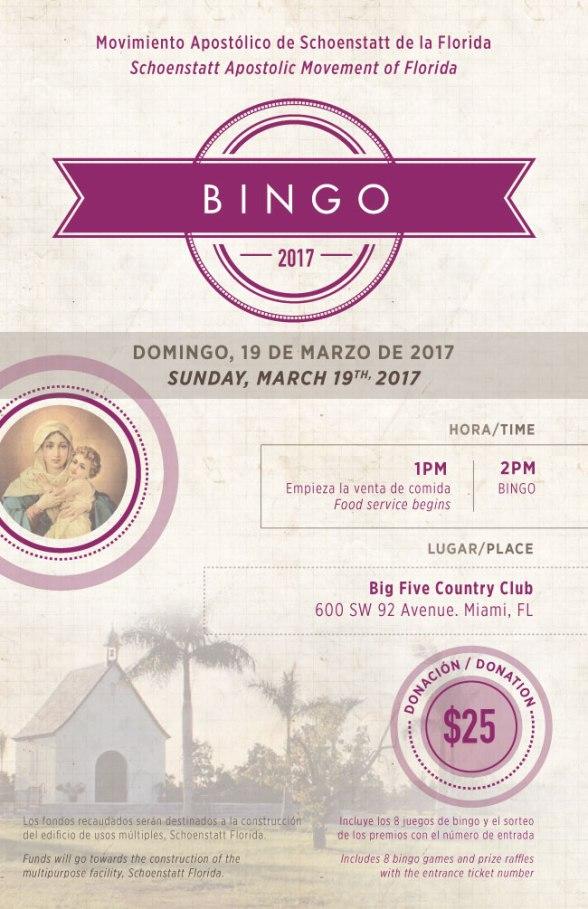 2017 Schoenstatt Miami Bingo