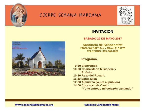 INVITACION - Semana Mariana 2017