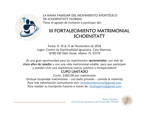 INVITACION III FORTALECIMIENTO MATRIMONIAL SCHOENSTATT